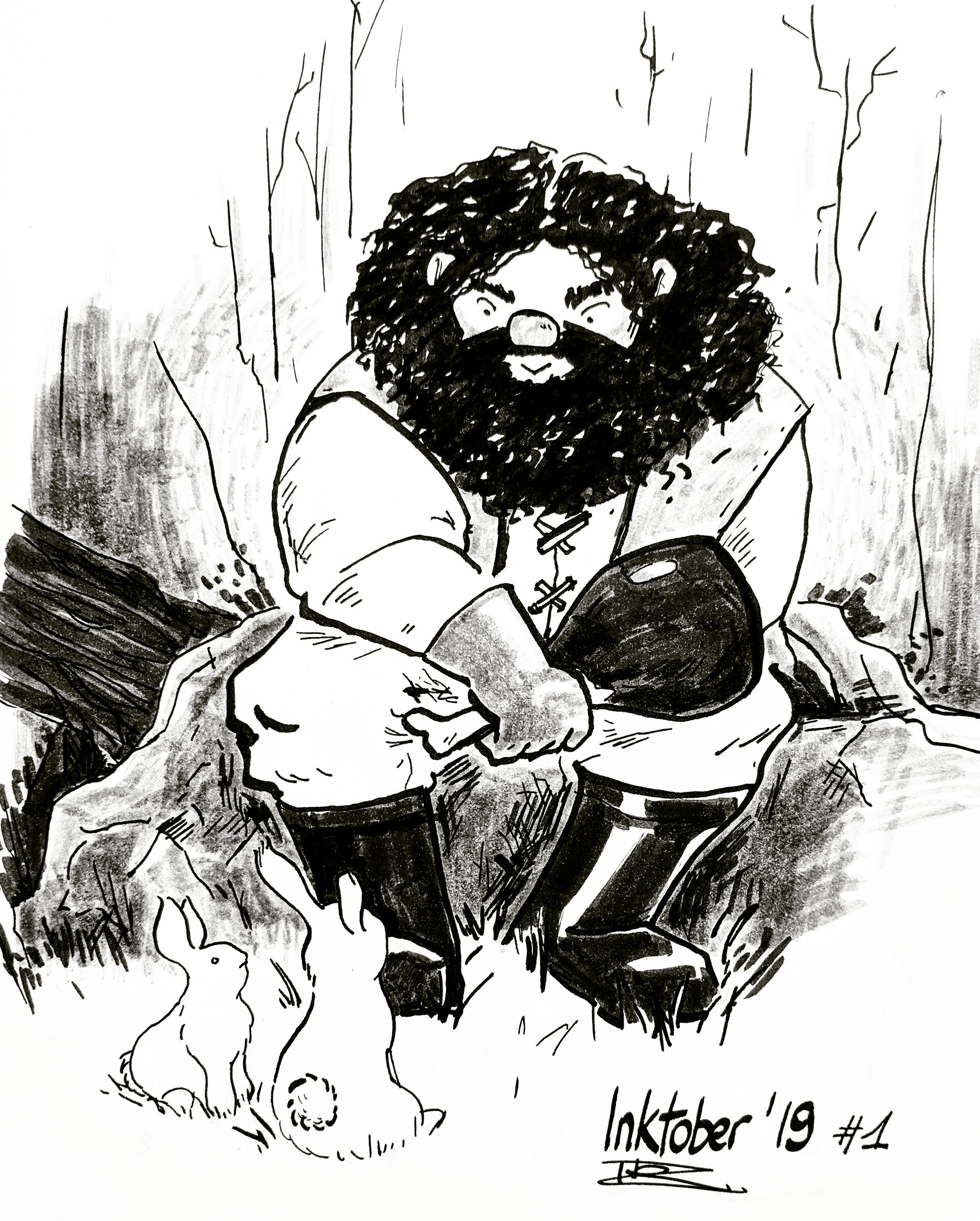 Little illustration of Hagrid having lunch in company of bunnies for Inktober 2019.