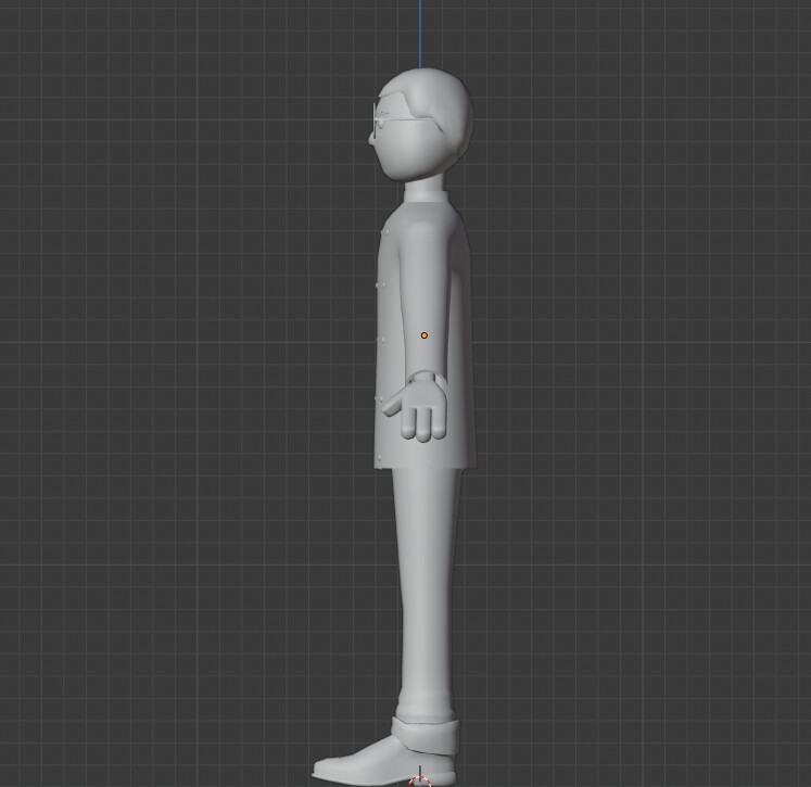 Side view of the small bellhop. The lead artist decided on 3 fingers for the art style.