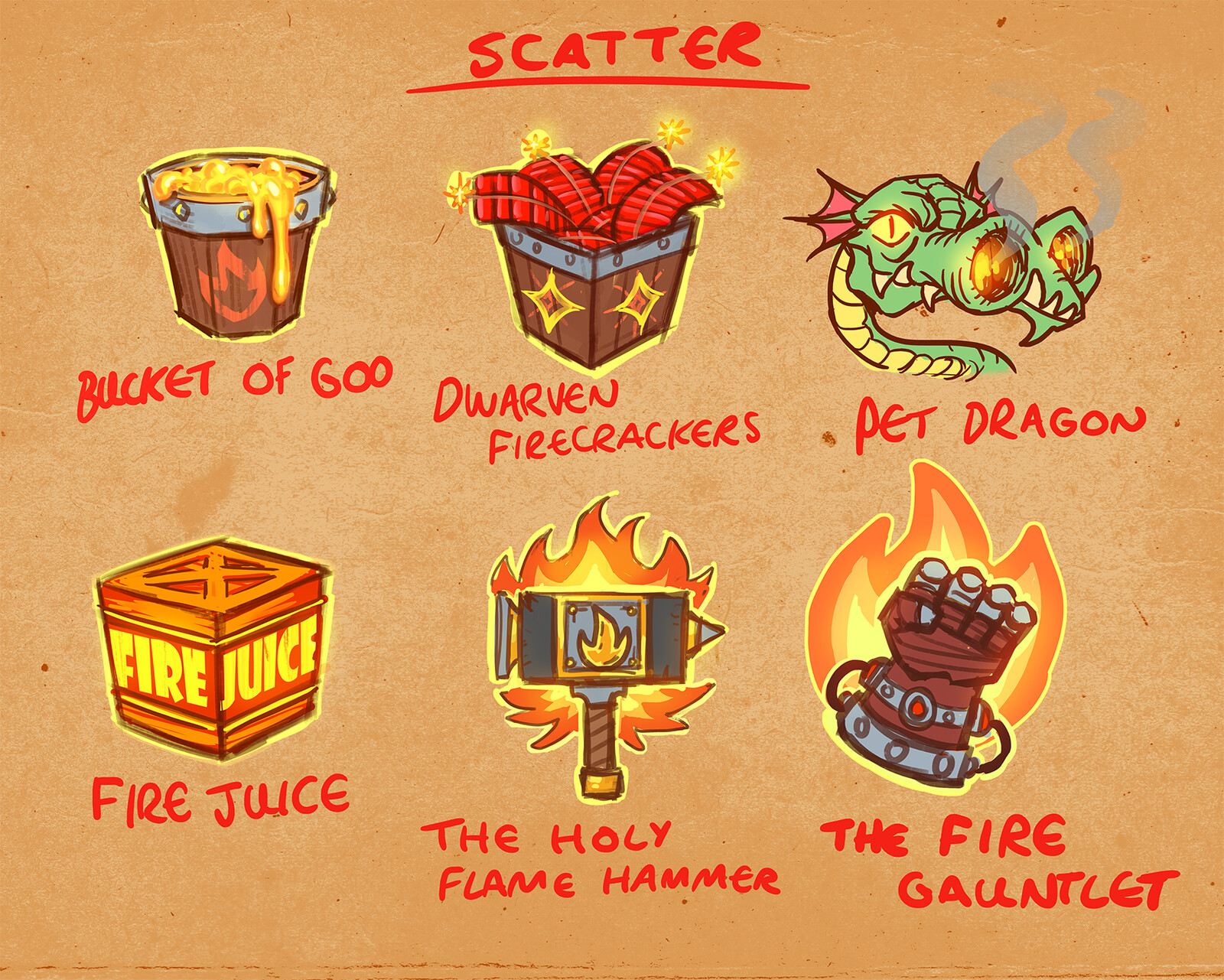 Some very early ideas for the scatter symbol. The Fire Gauntlet ended up having a big impact on the direction of the game.