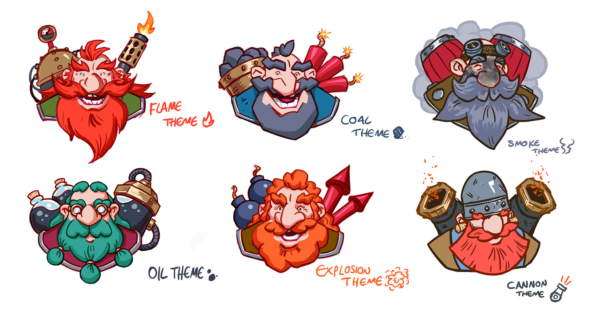 Some early designs for the dwarves, trying to give each a different theme.