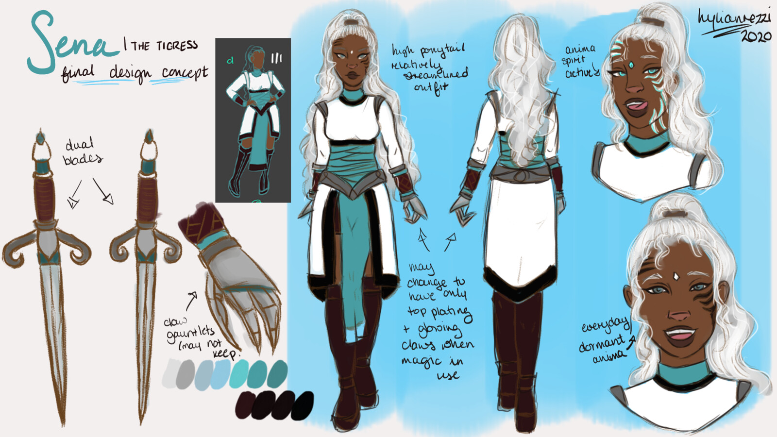 this is the design I ended up choosing  I figured that having a shorter silhouette would be suitable because she's a rather active person