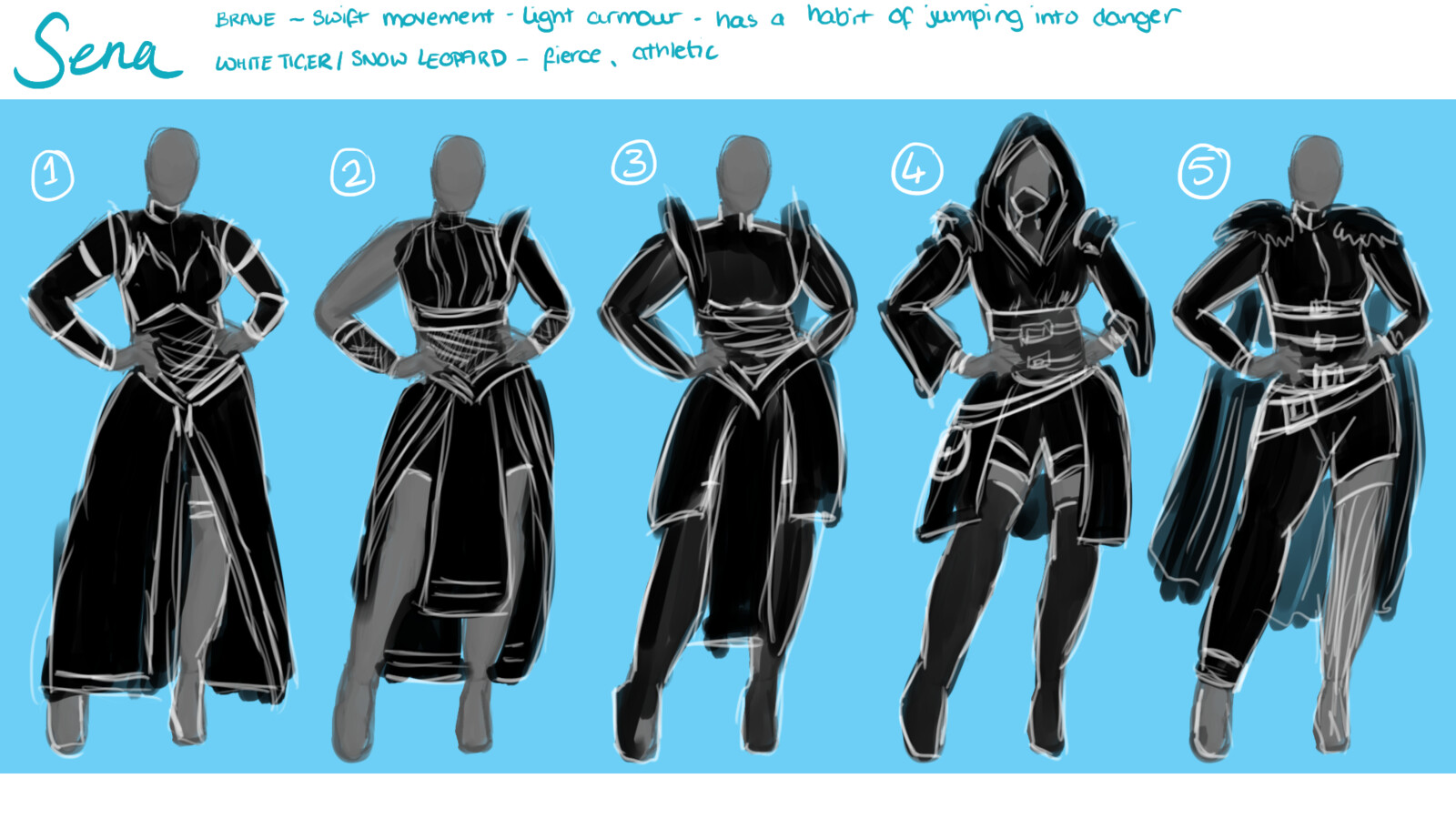 some silhouettes for Sena's outfit