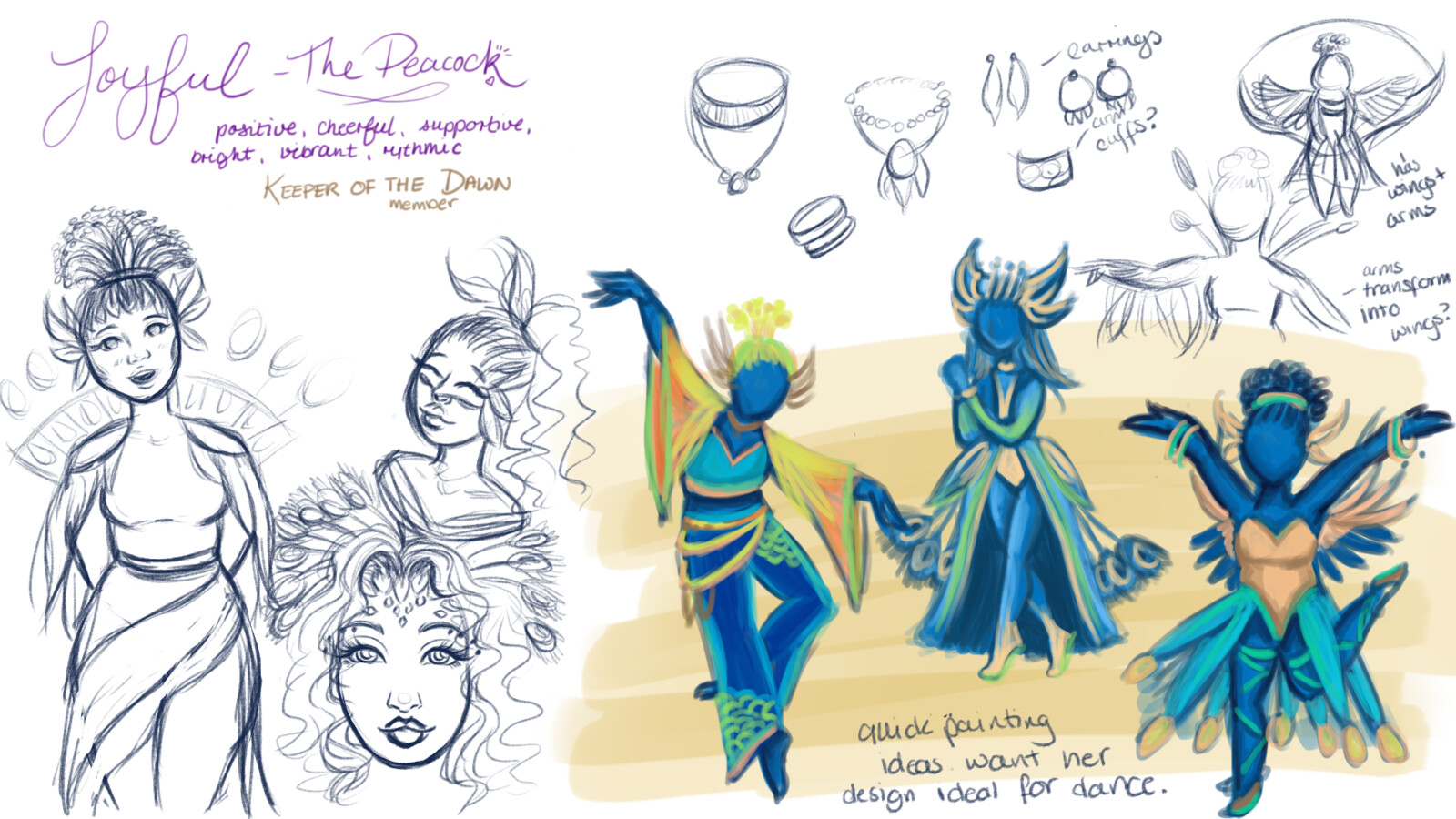 initial ideas for Laetitia I had a very clear idea of what I wanted to do with my joyful character