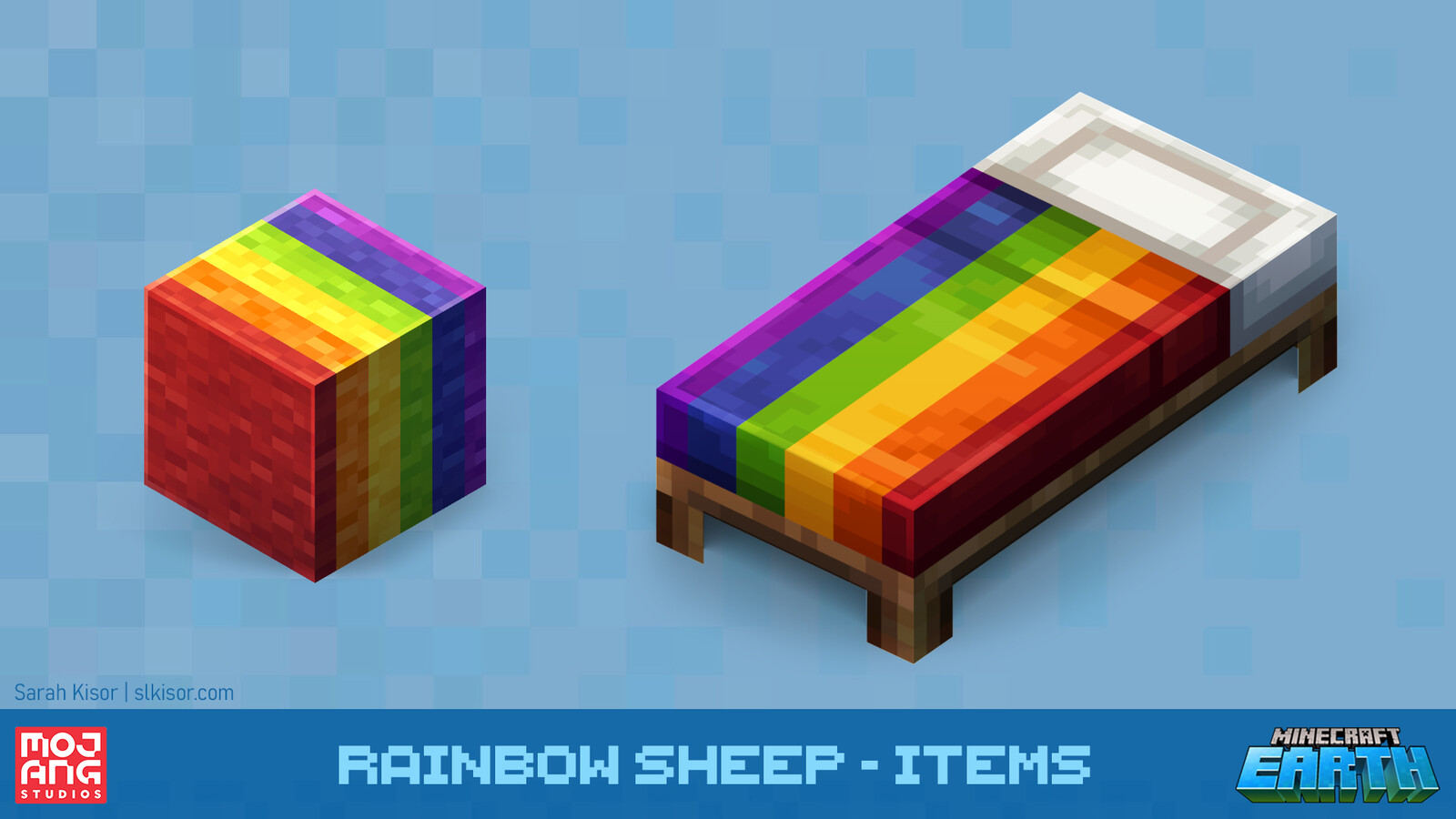 New rainbow items made from rainbow sheep wool! Based on the original textures by Jasper Boerstra.