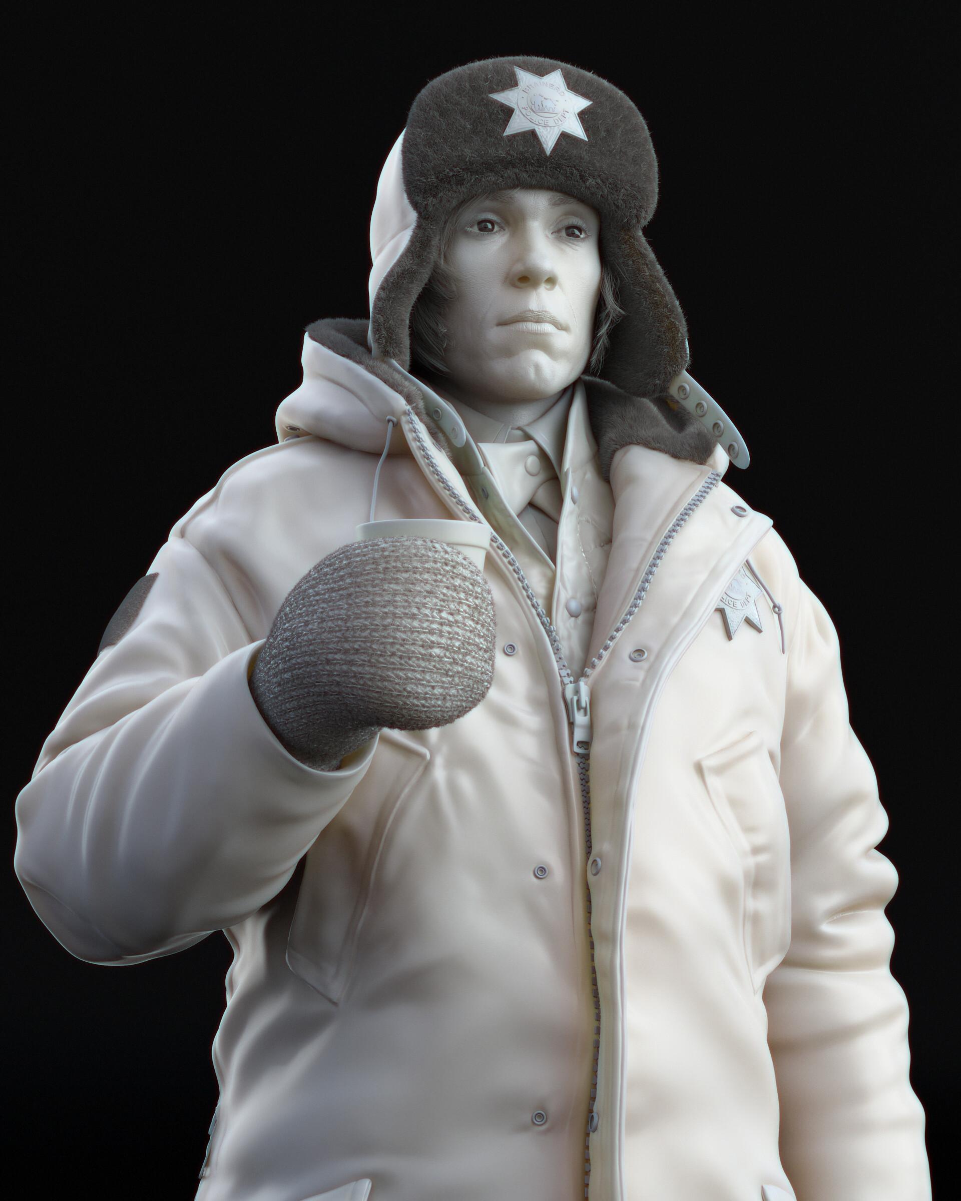 Three quarter view on character sculpt