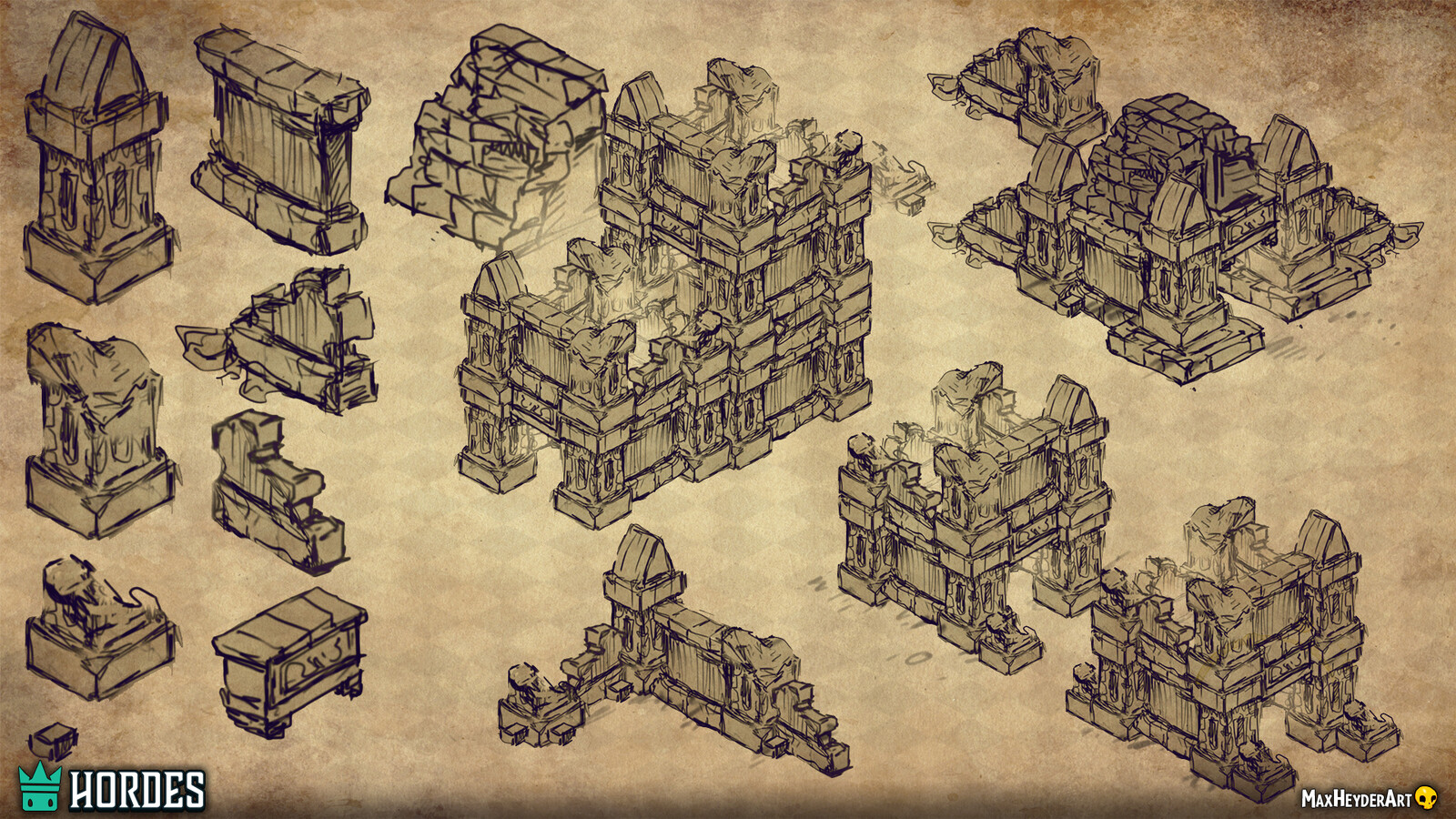 This is an example of early stage concepts for a ruin we wanted to have ingame
