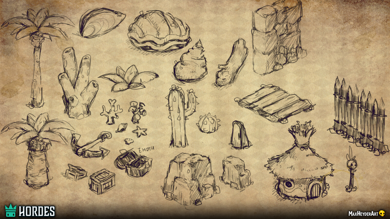 Not all assets that I concepted, we ended up using. In this case, we figured out that the assets were too specific for just one biome. We ended up reducing the number of assets tremendously, to ensure top performance, even on low-end devices.