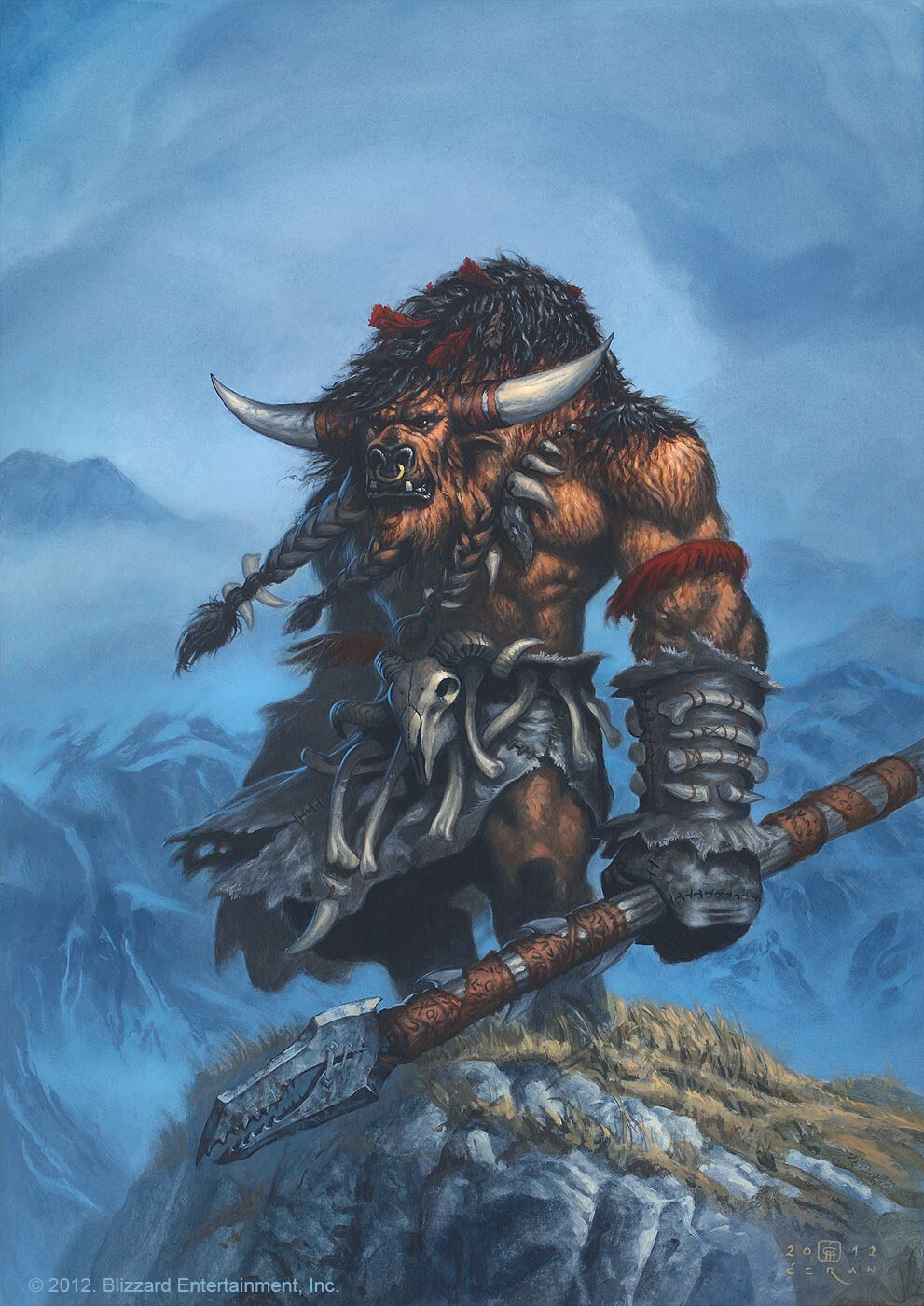"""Huln Highmountain"", Milivoj Ćeran 2012 - 56,5 x 40 cm   - acrylic on paper - © 2012 Blizzard Entertainment - private collection"