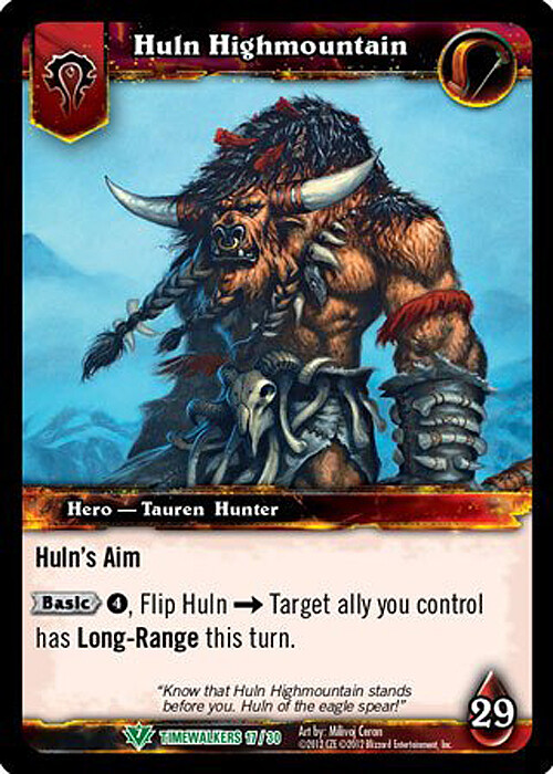 """""""Huln Highmountain"""" released hero card, back - Set 19 Timewalkers: War of the Ancients - © 2012 Blizzard Entertainment"""