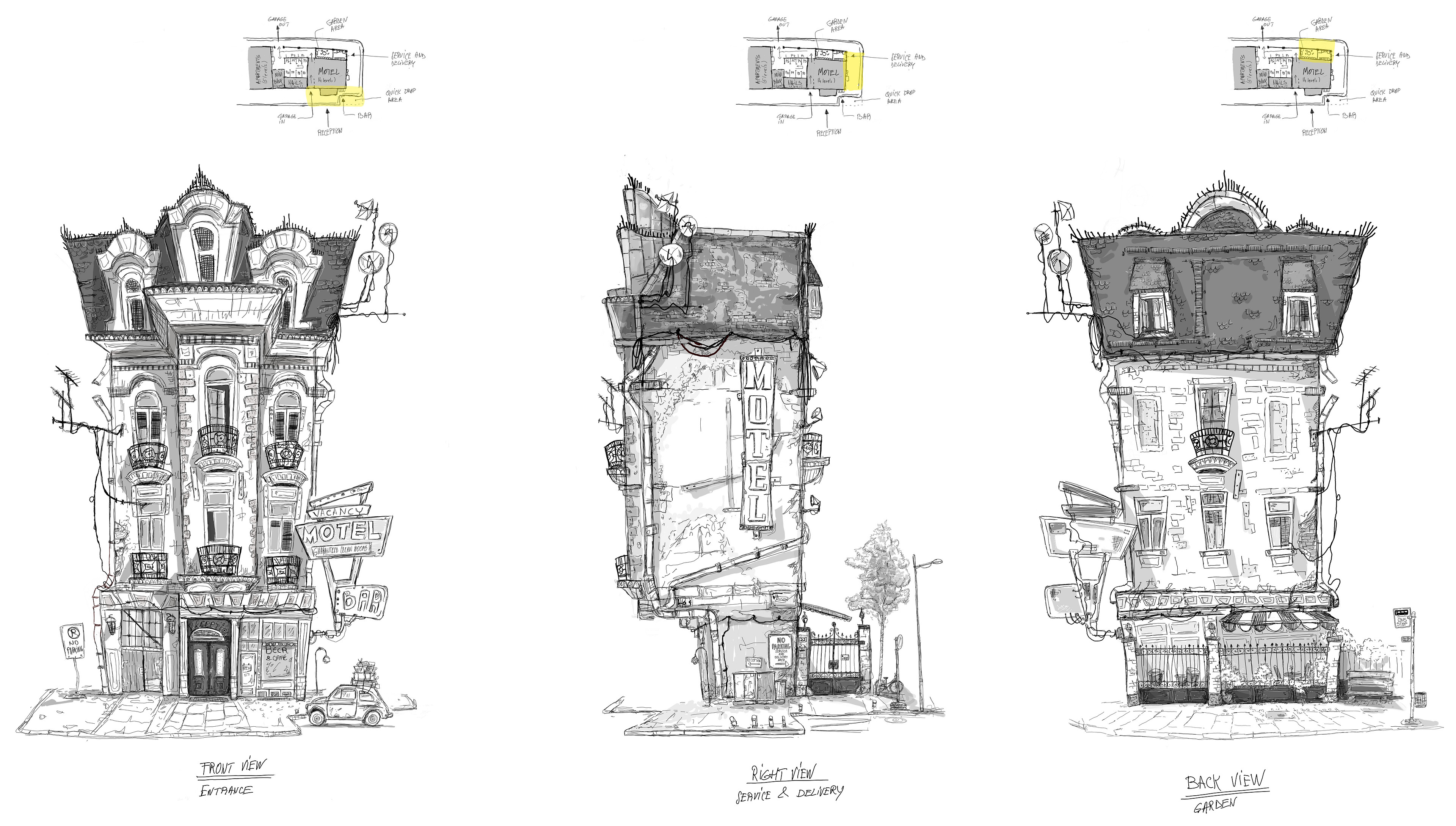 Concept Sketch of the Motel, Front - Right - Back orthographic views