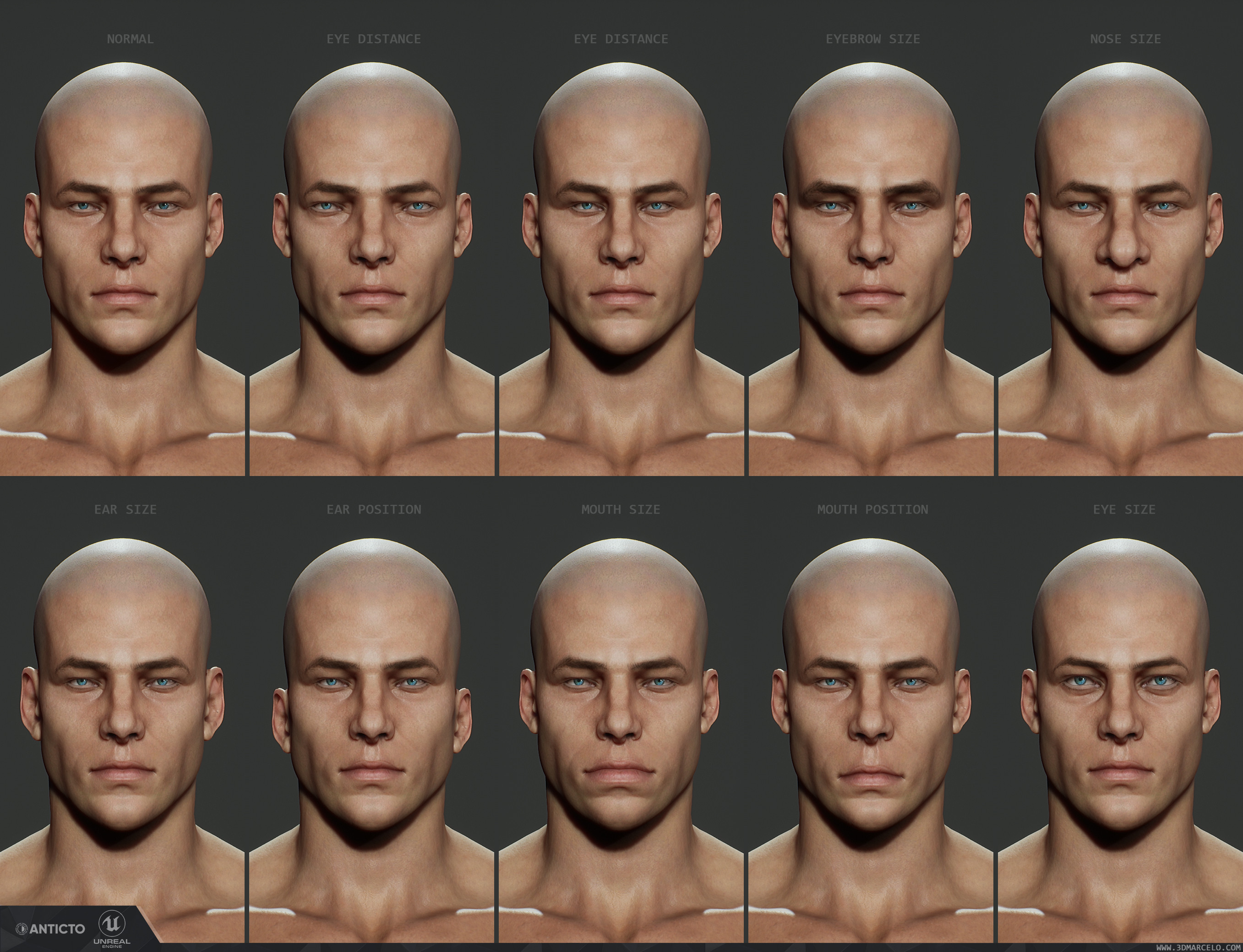 Face blend shapes for character customization