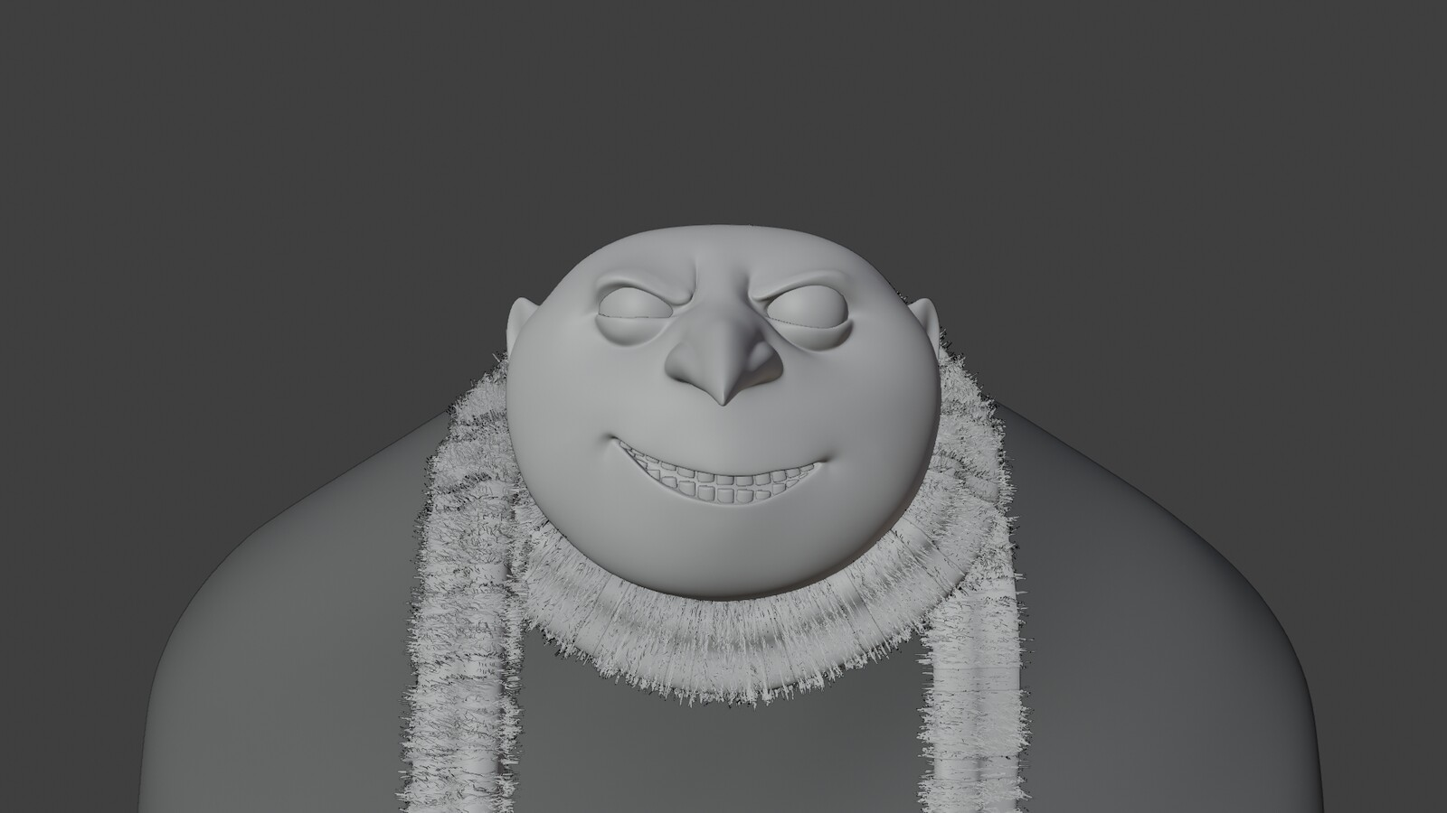 Clay render, front view