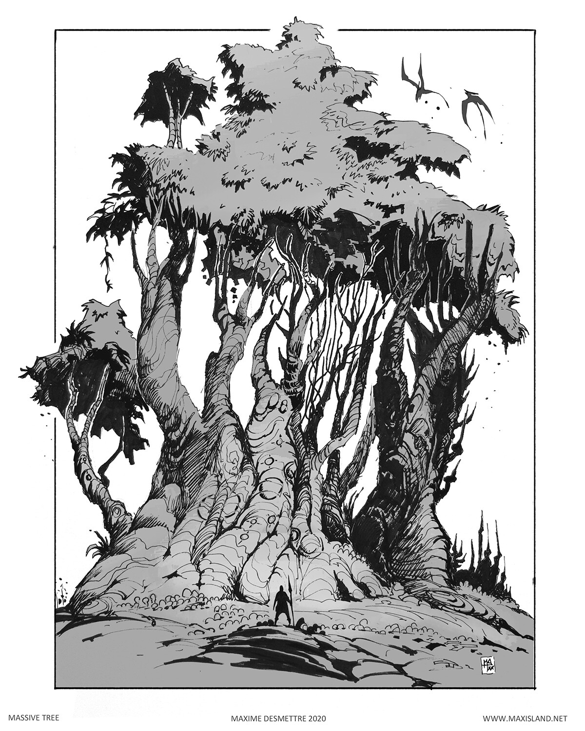 Massive Tree Personal study  -  Pen & Digital (2020)