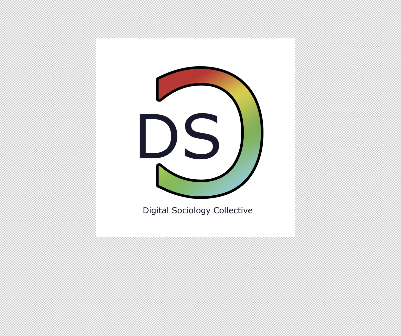An initial sticker concept mockup for the Digital Sociology Collective.