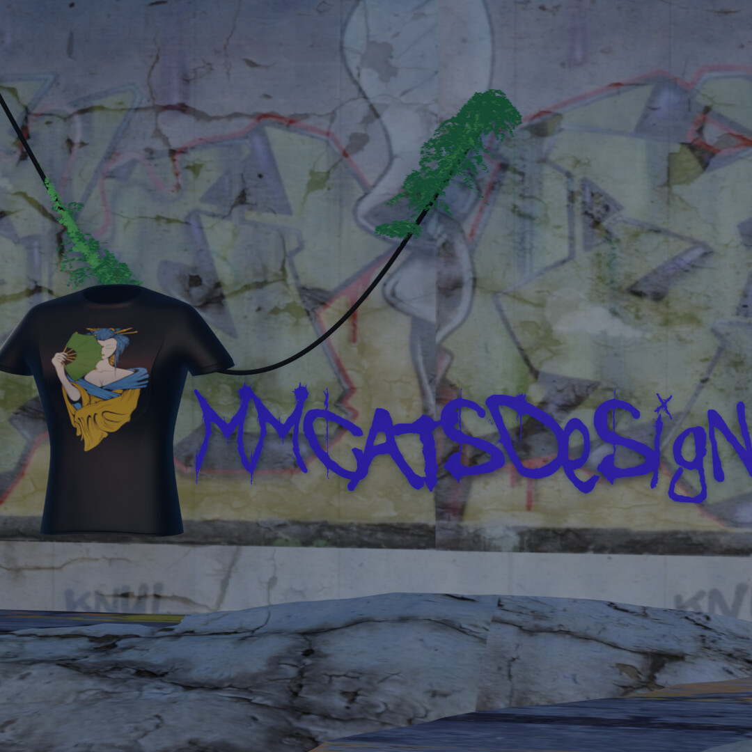 First test render of tshirt with gaisha art on  behind is an gaffiti wall