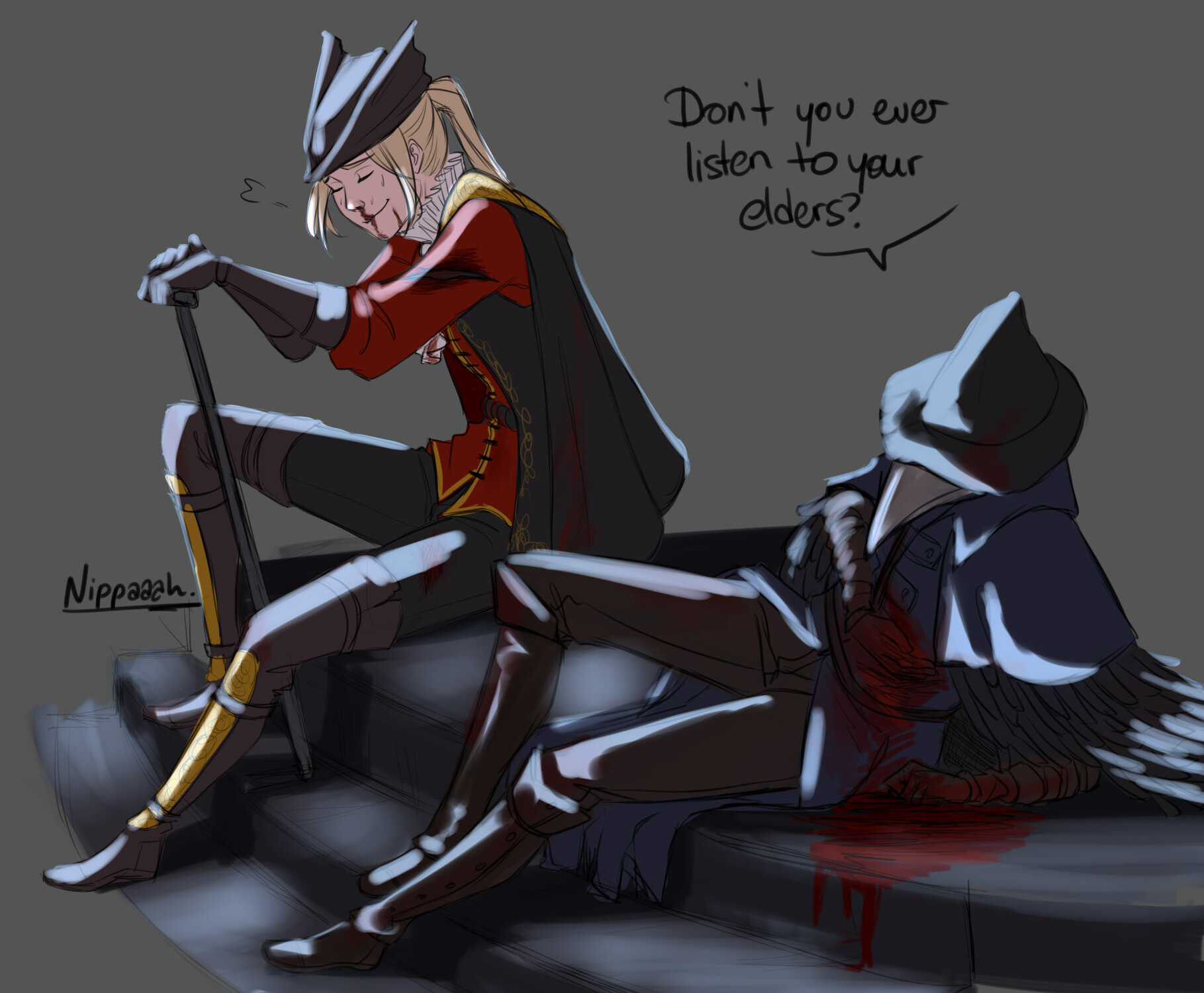 In Bloodborne, taking a breather with Eileen