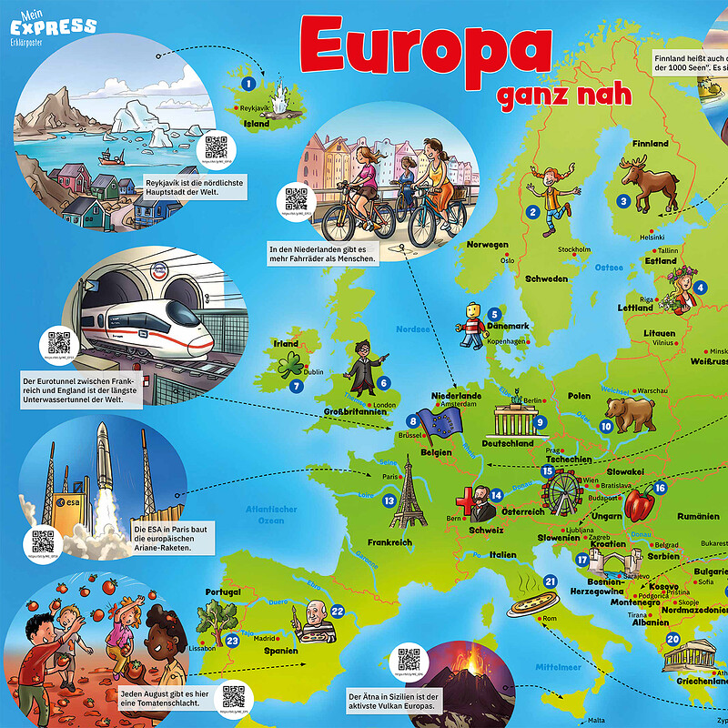 Europe map for children