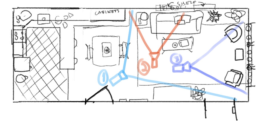 Initial room layout. A few details changed between this and the final