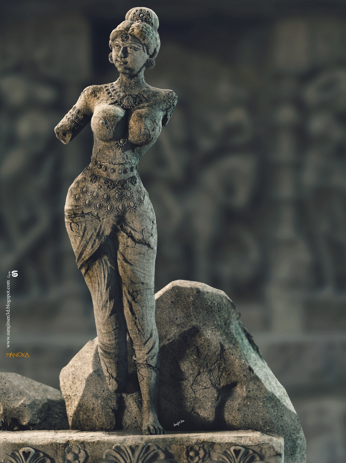 Manoka ….one of my Digital Sculpture. I am always inspired by Ancient Indian Art of Sculpting. Though lot of relics are broken due to huge time that passed over, I still see the hidden art even in those broken sculptures. Here I, simply tried to imagine a
