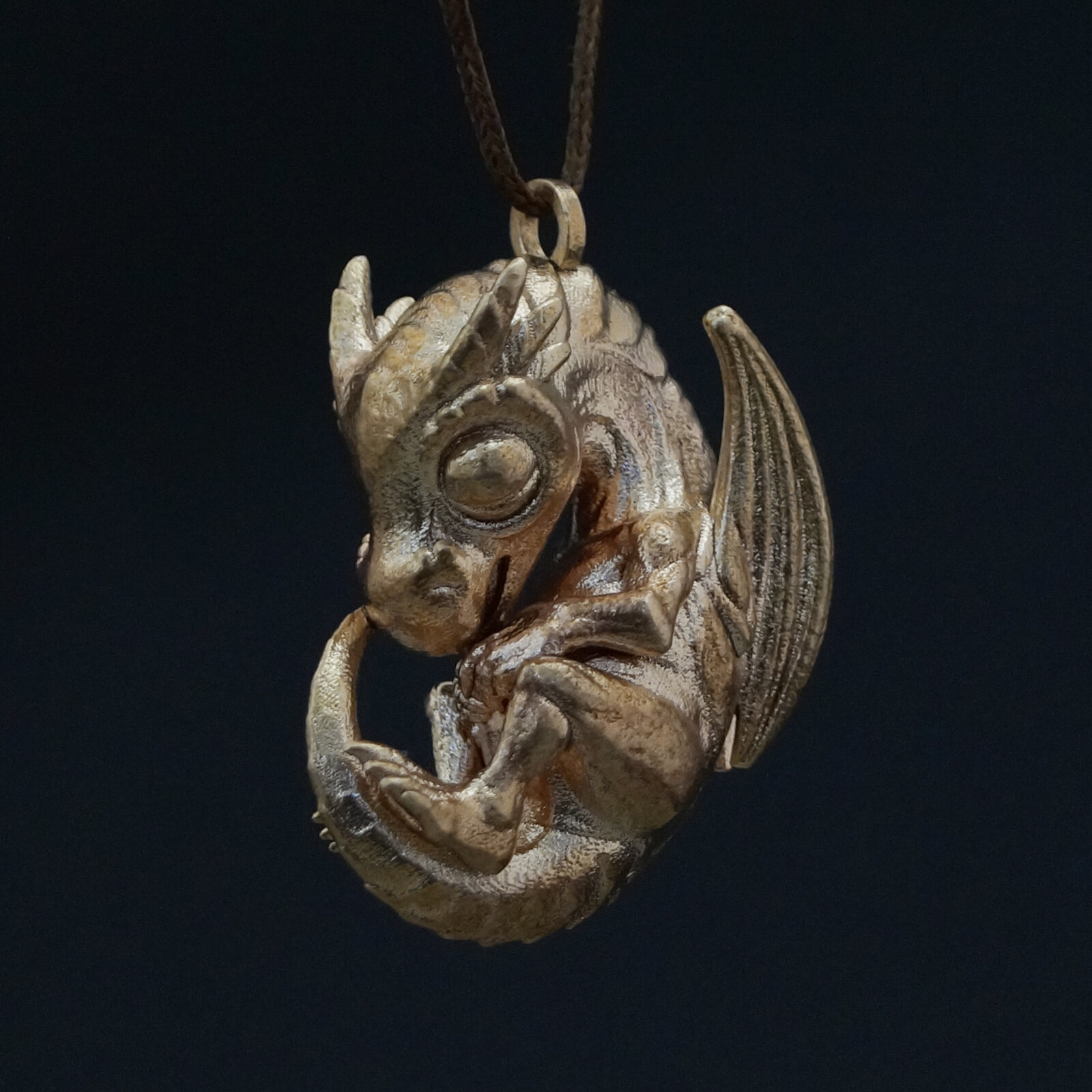 Dragon Pendant in Raw Bronze