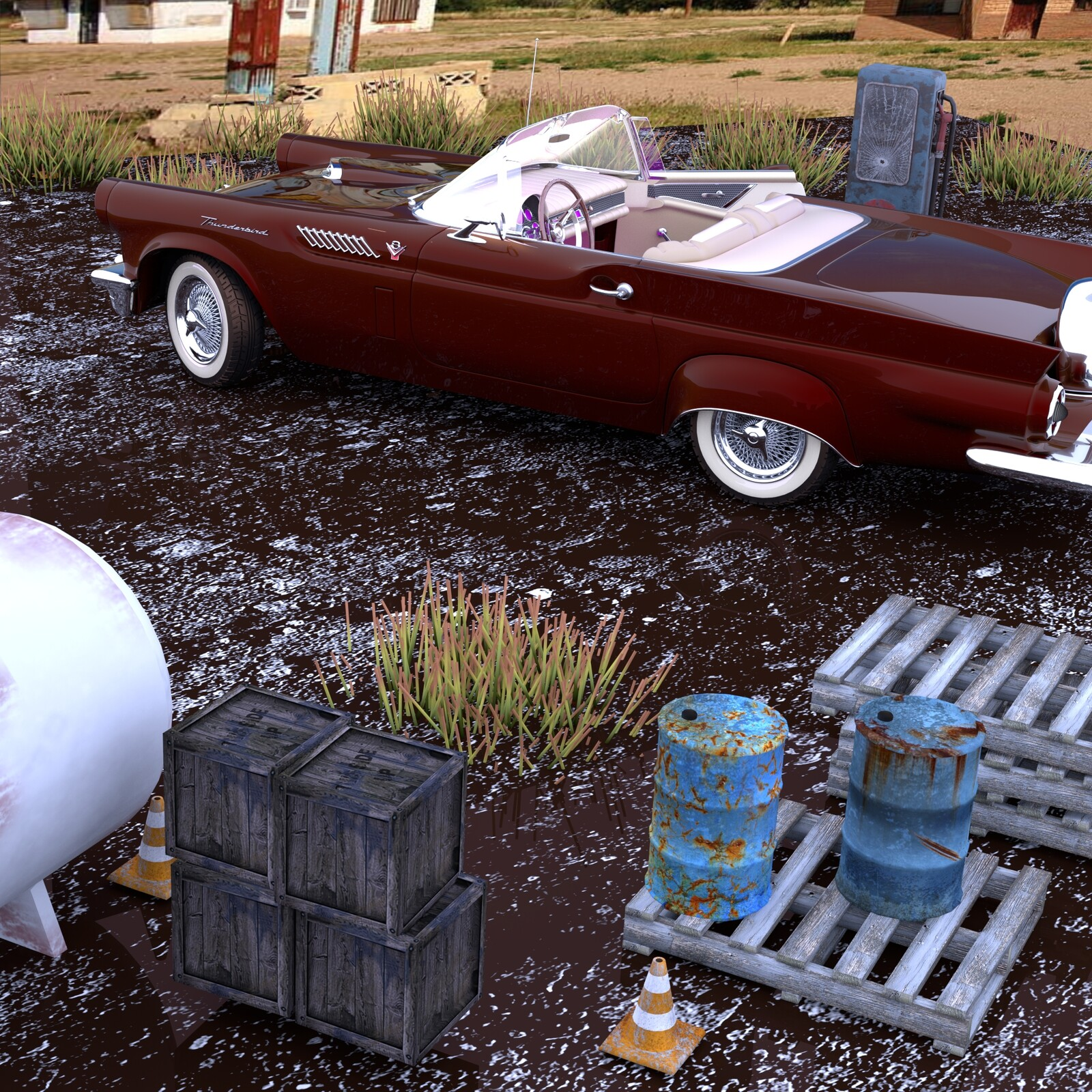 Thunderbird classic car and rusted things