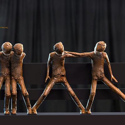 Surajit sen x distancing digital sculpture surajitsen aug2020a