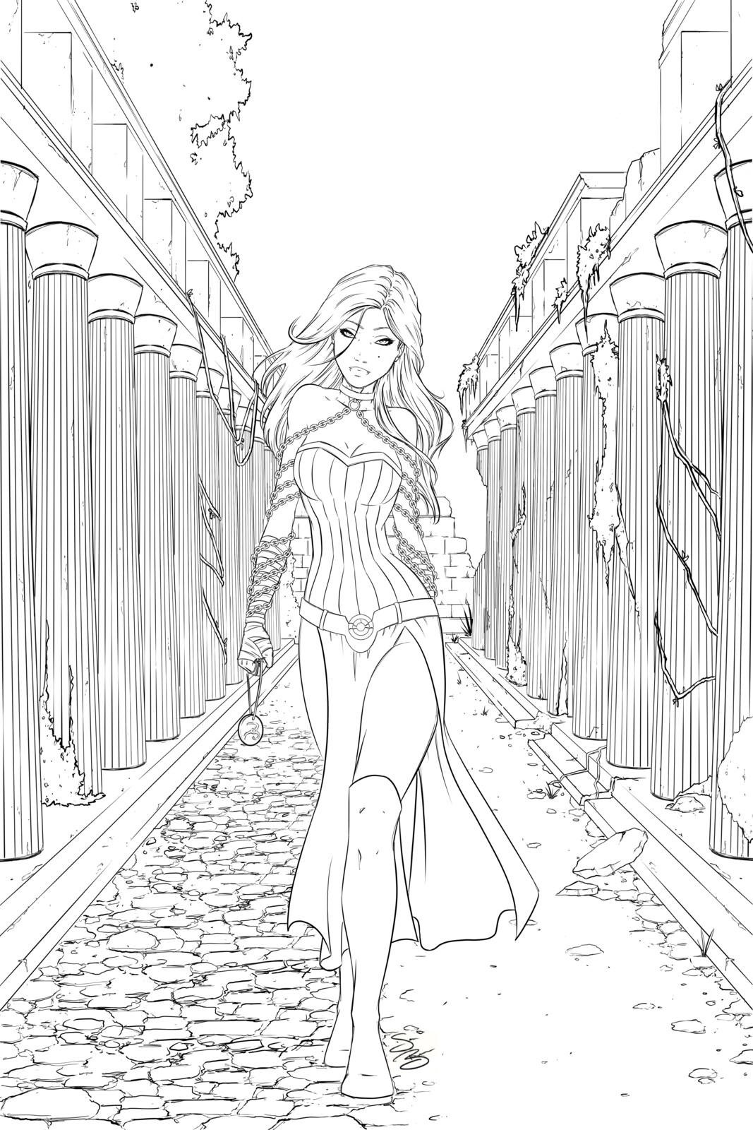 Line Art of cover page with title for Isidora and the Immortal Chains