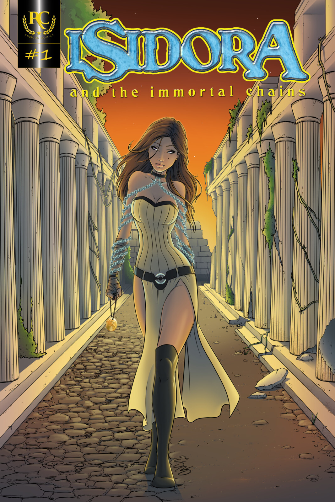 Cover page with title for Isidora and the Immortal Chains