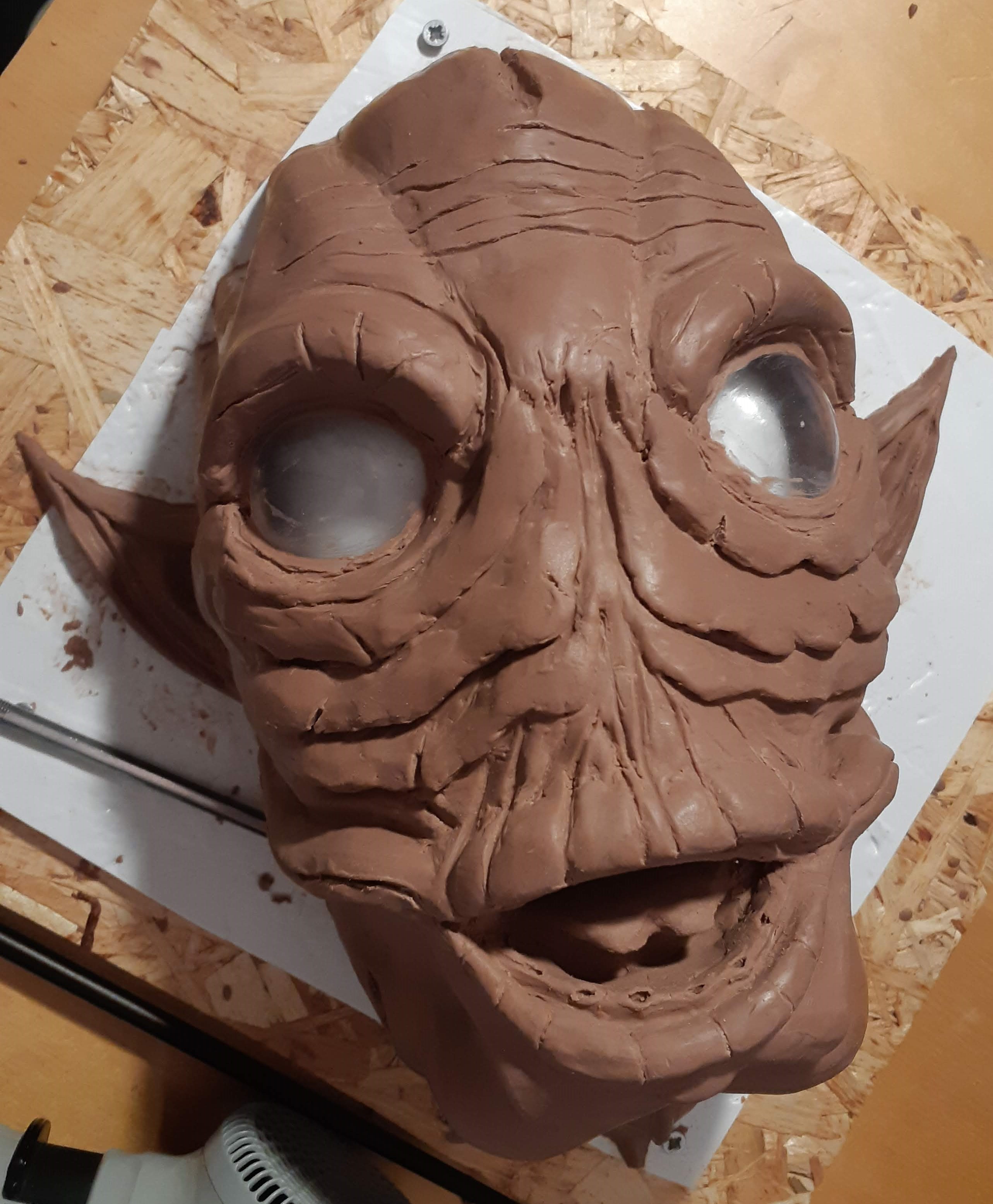 Monster Clay sculpt with vaccuformed eyes