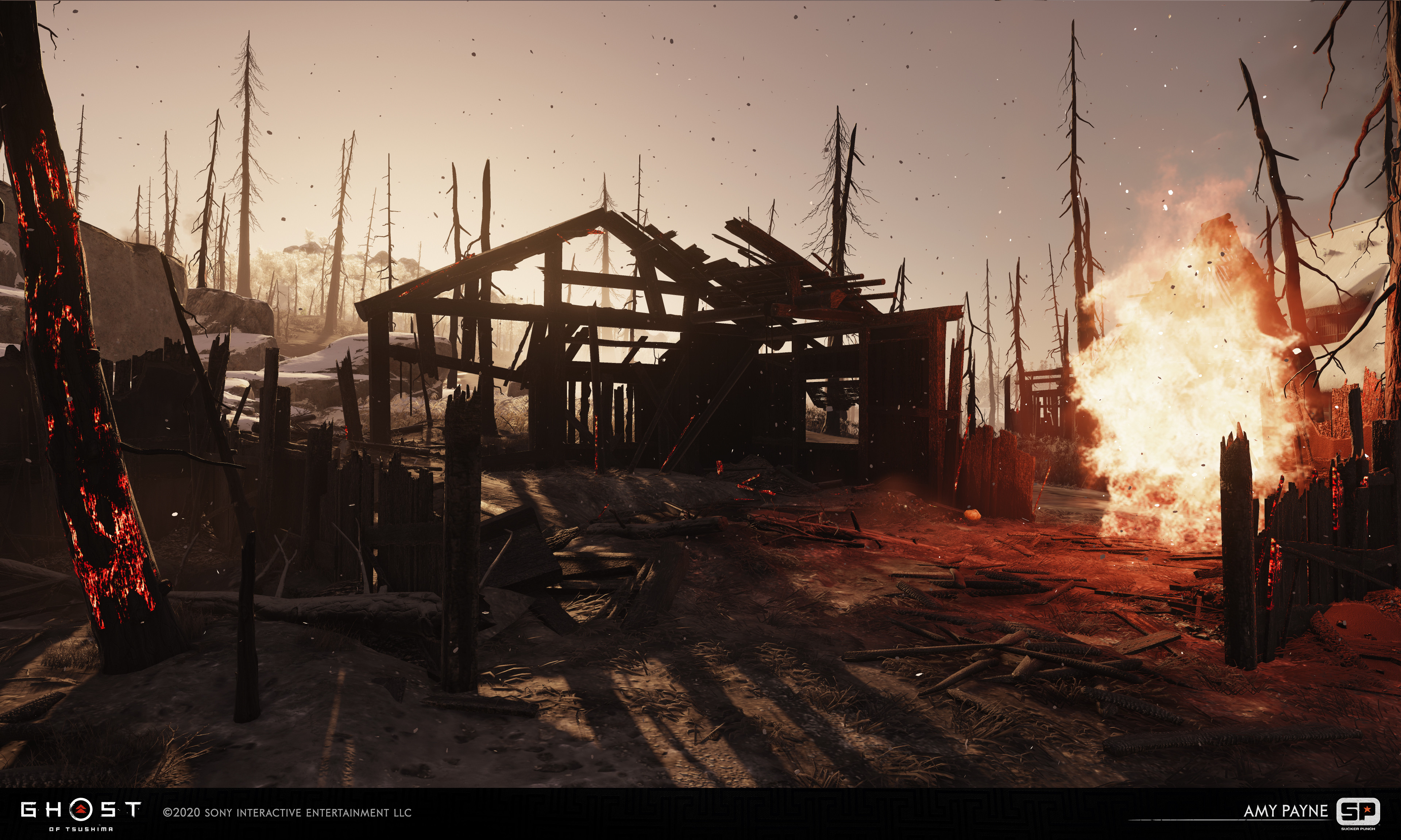 Responsible for taking burnt architecture from block out to final using in house textures. Also worked on burnt set pieces.
