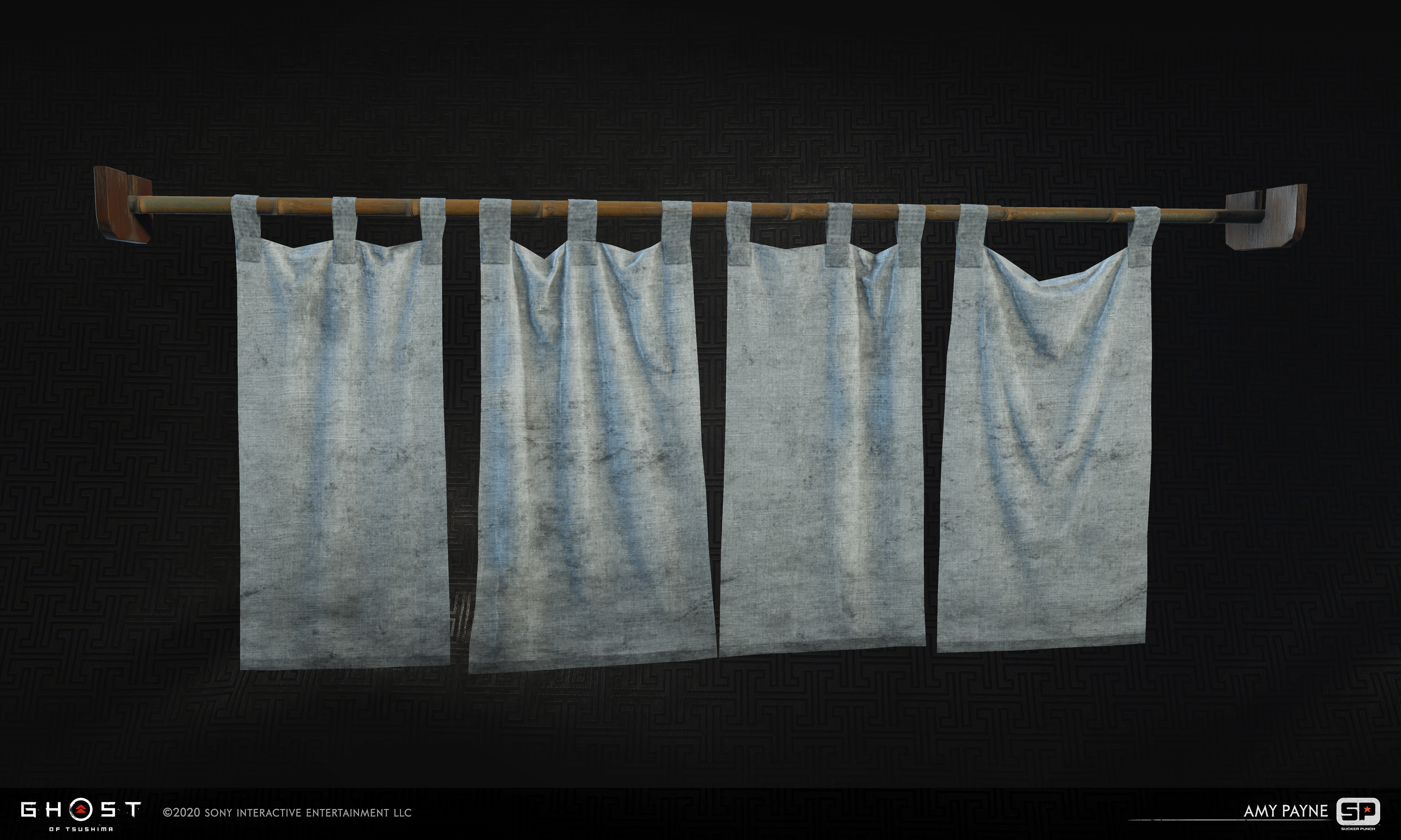 Shop entrance banners. Responsible for high poly cloth sim, texture creation, and in game cloth sim.