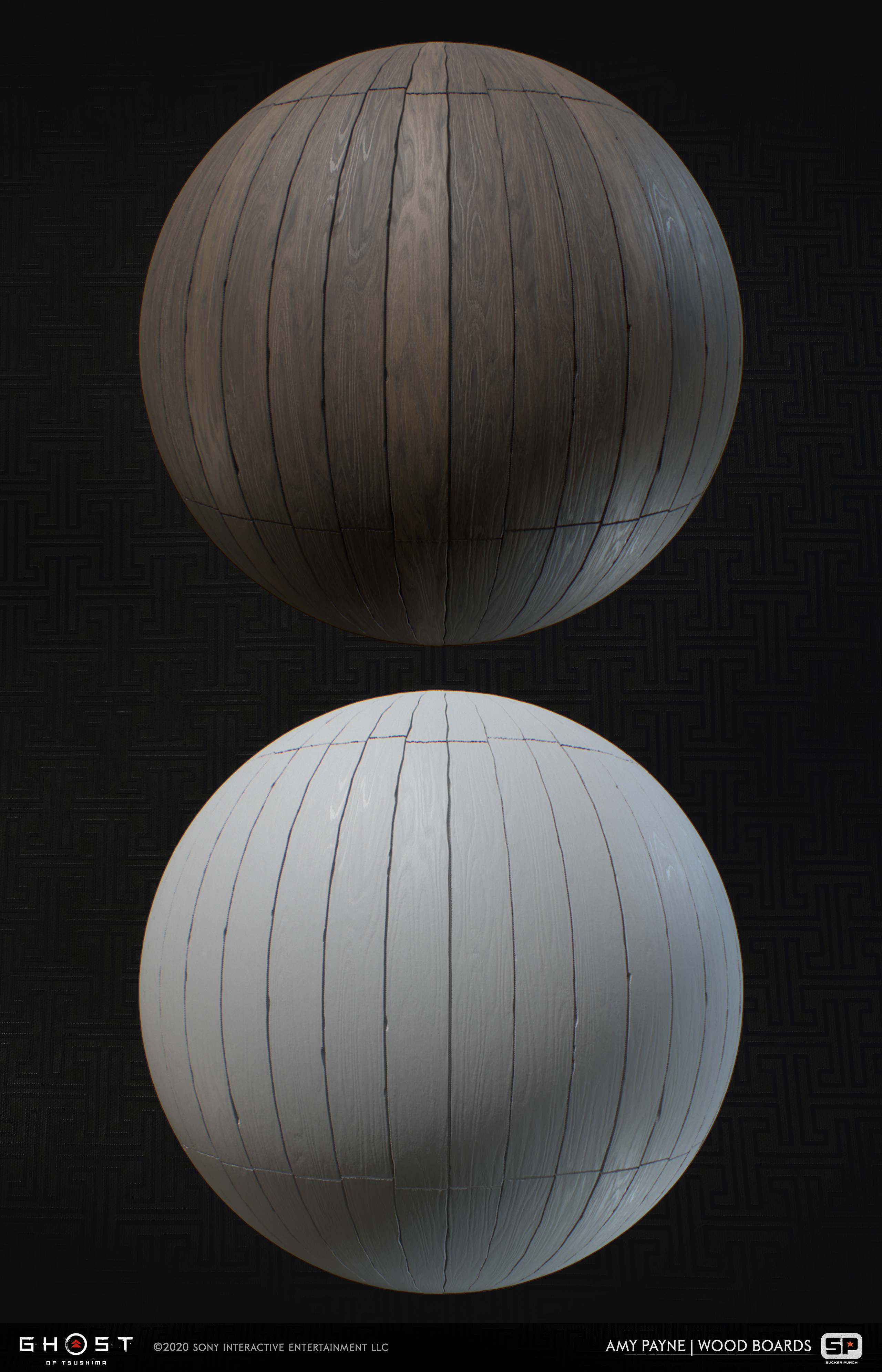 Wood material made from a global wood generator I made for the project. Used throughout multiple buildings in the game. 100% Substance Designer.