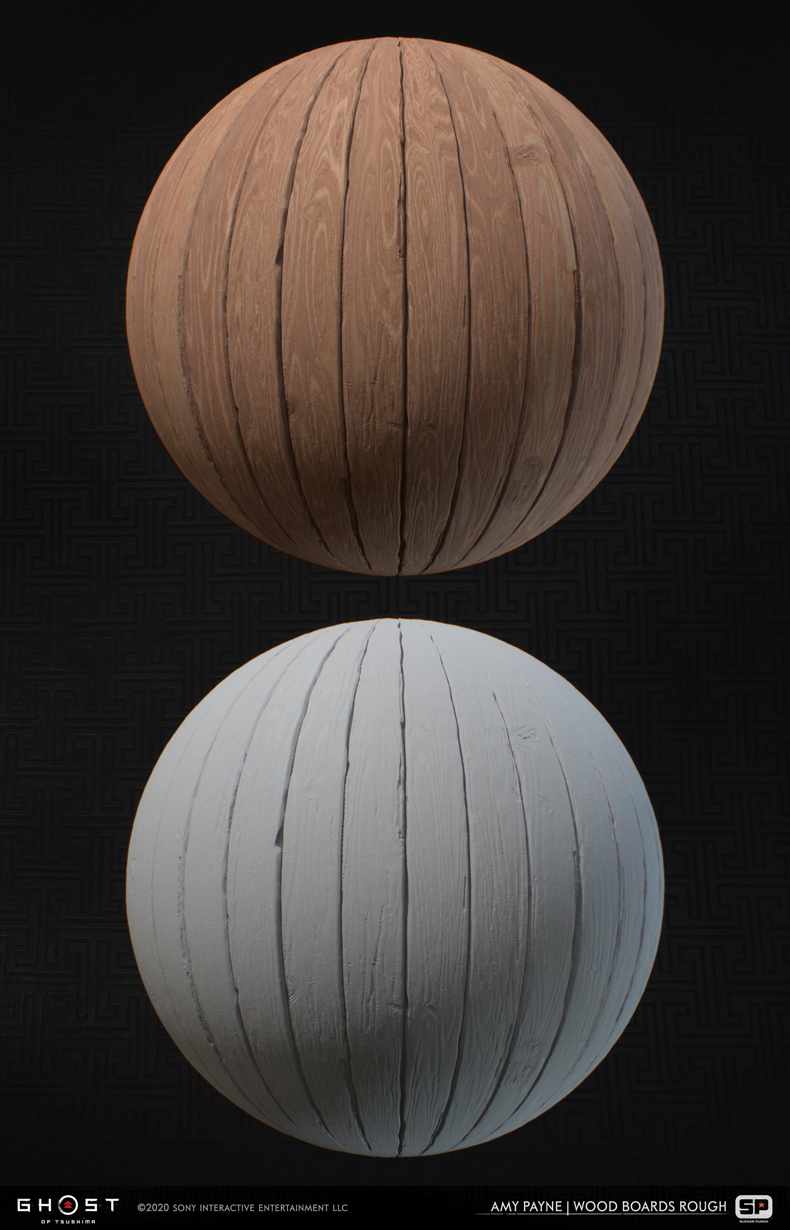 Wood material made from the same global wood generator I made for the project. Used throughout multiple buildings in the game. 100% Substance Designer.