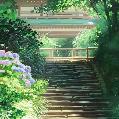 Madeleine bellwoar stairway with foliage s