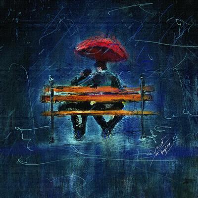 Surajit sen rain and romance digital canvas painting surajitsen aug2020