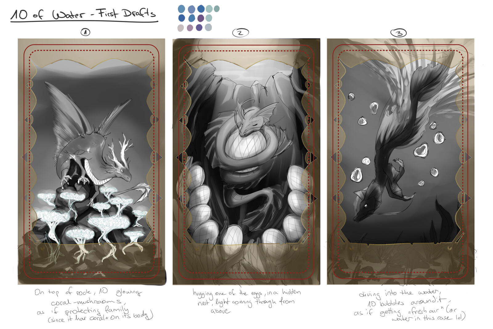3 first thumbnails. The final piece was the pose from 1 with the eggs/babies from 2