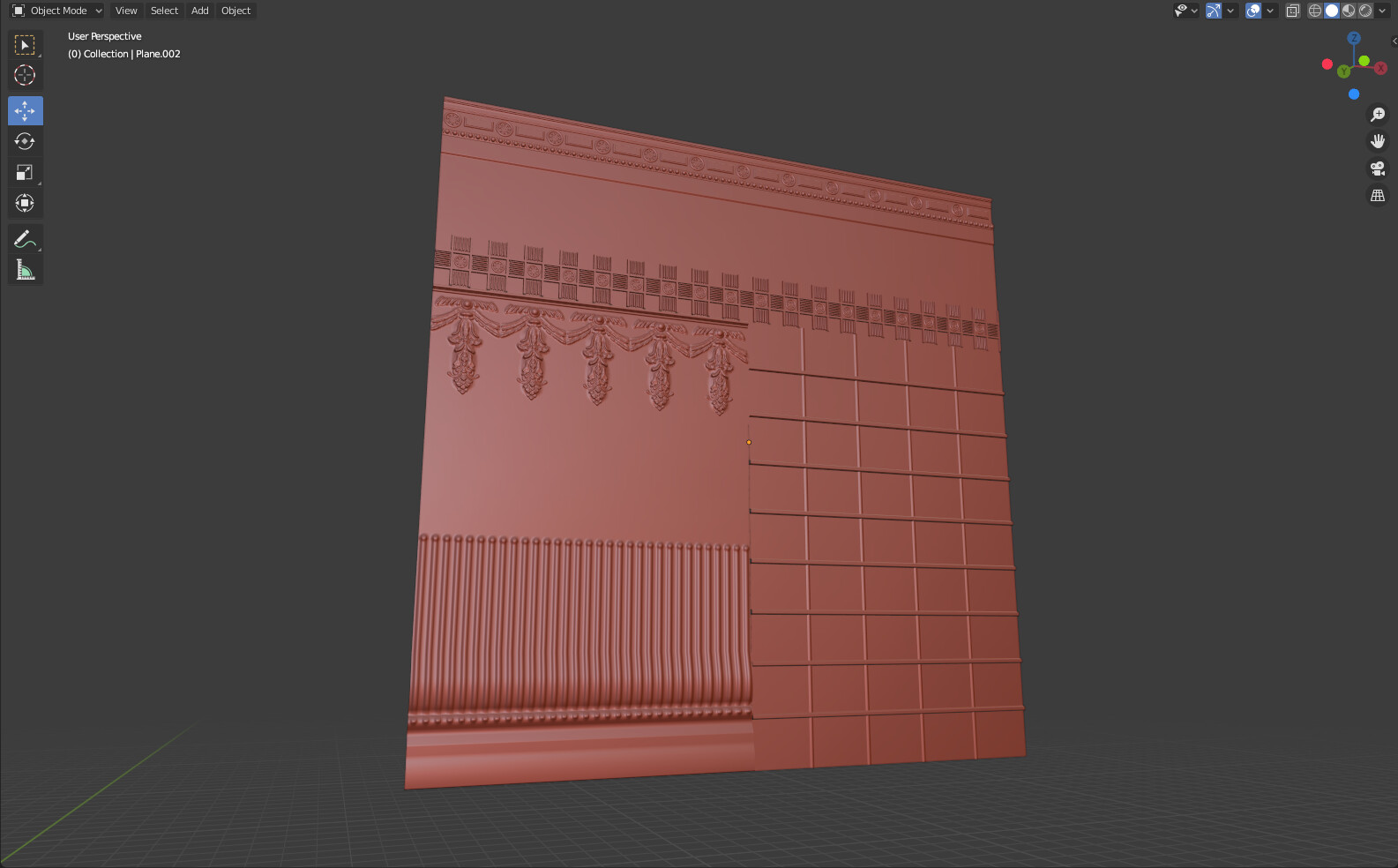Trim Texture Shape with sculpted and modeled detailes for normal map baking and further texturing process