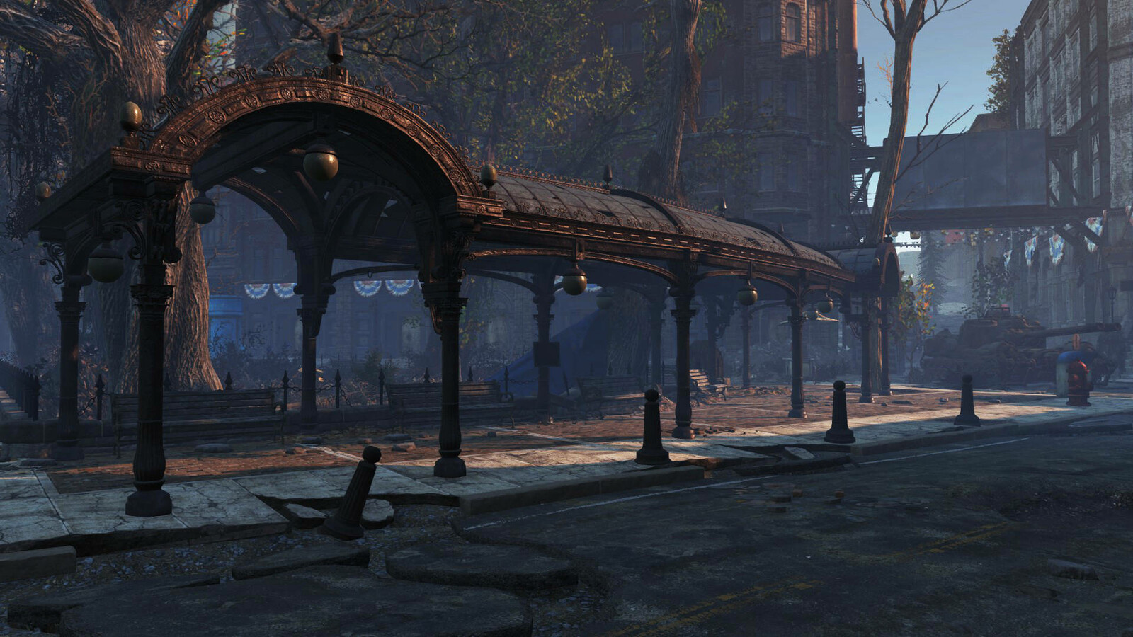 Pioneer Square Pergola for Fallout Cascadia - In Game Screenshot