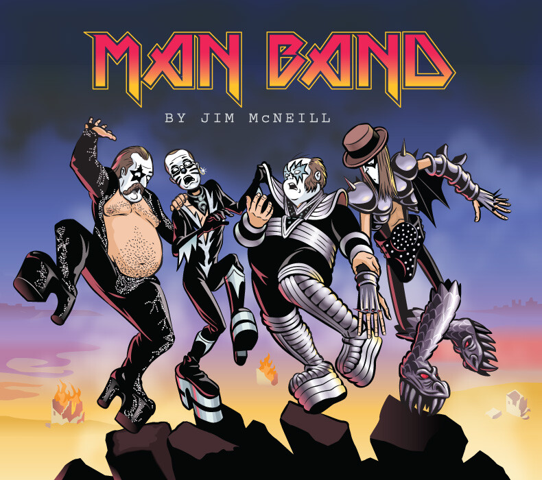 Album cover tribute from my comic, MAN BAND