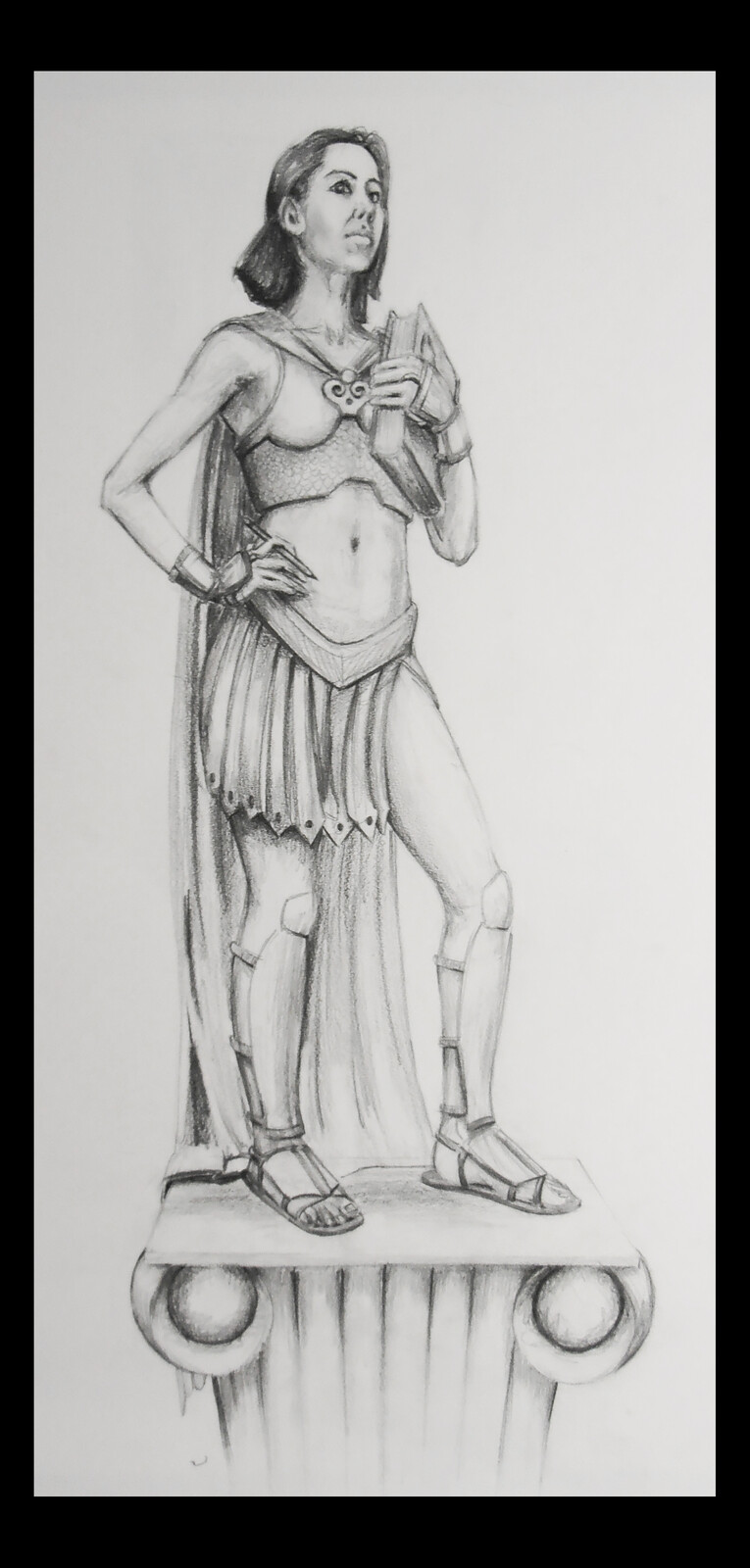 A drawing I did of my wife because she's such a hard working student that I think of her as a kind of spartan at learning.