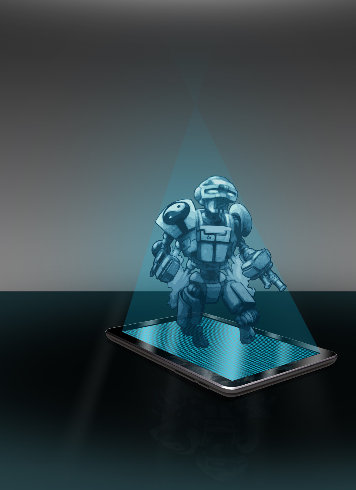 A project for school with my robot drawing as a hologram from a fictional futuristic phone