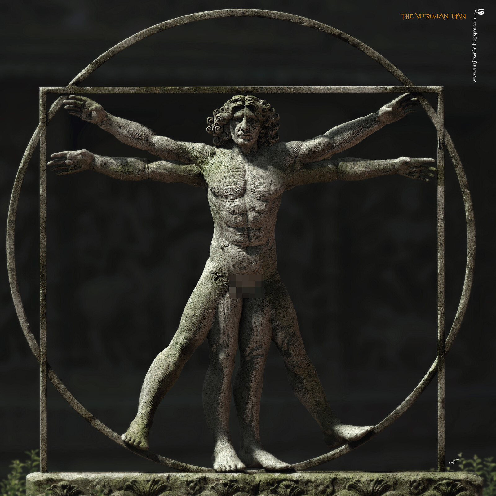 """I tried to make a form of """"The Vitruvian Man"""". My weekend Digital Sculpture."""