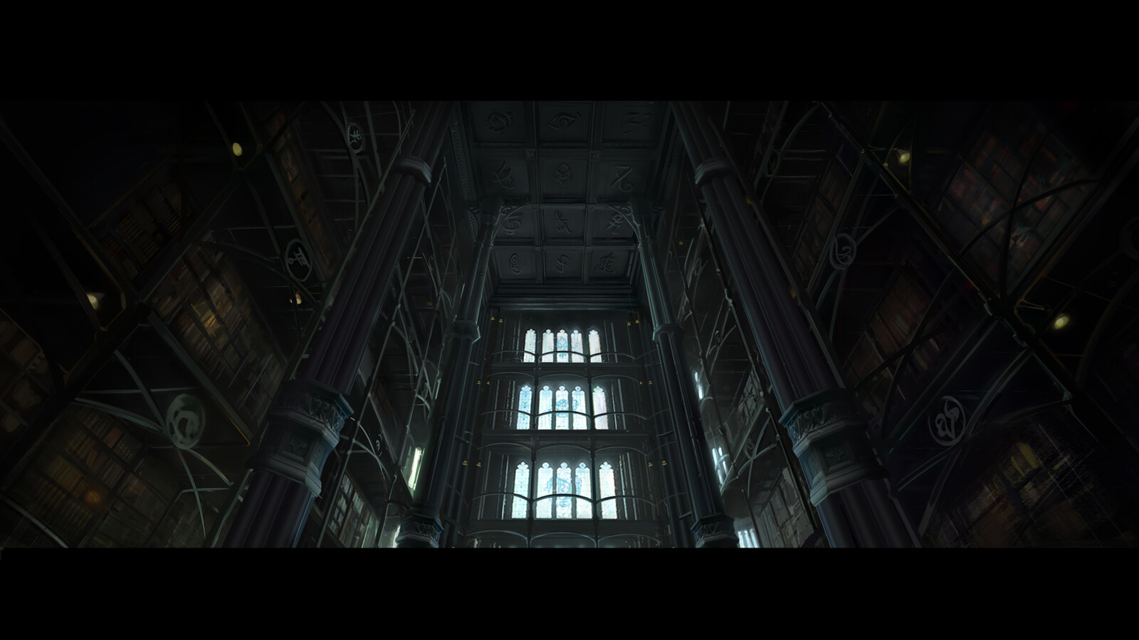 concept that became dmp for final shot of library ceiling.