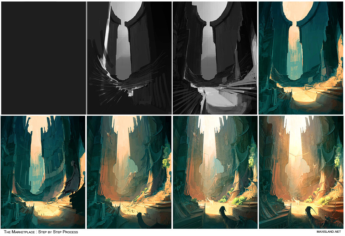 Step by Step process B&W composition to establish the main intention, then color balance & overlay layers to start the color phase.