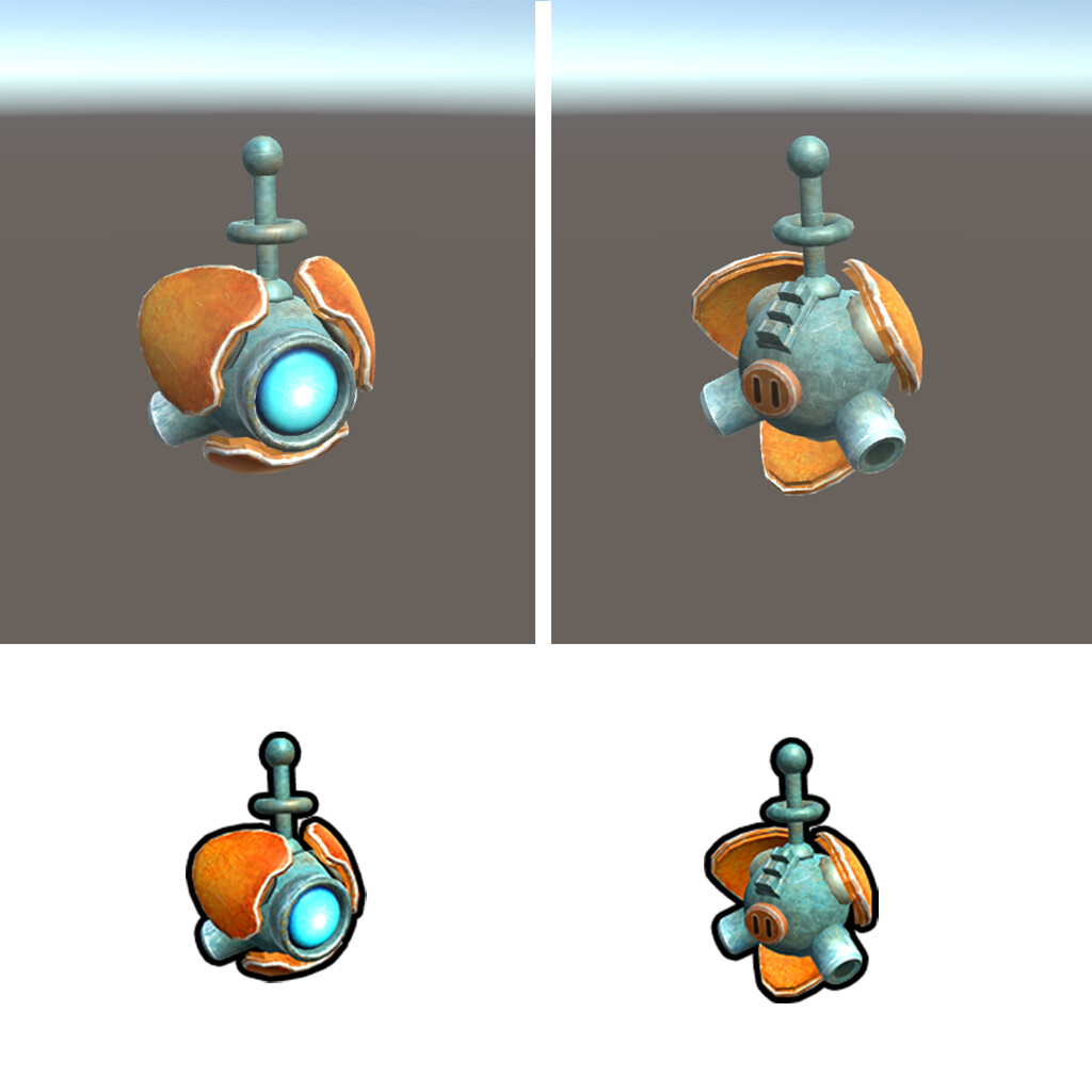 For the last chapter of the game we required a little probe. I didn't have too much time left to spend so I basically assembled it from a sphere and some parts of the robot.