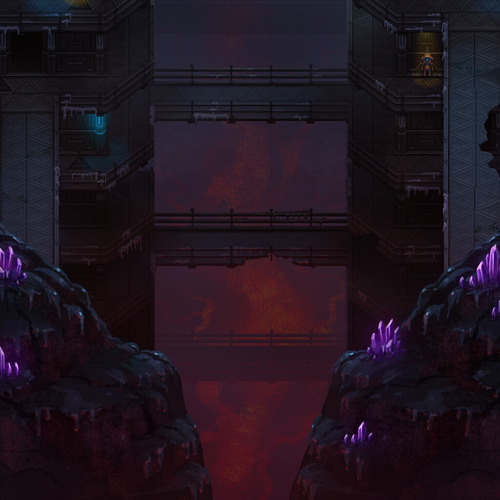 he quick.way to do it was to edit the stage 2 background to make it look like the player is progressing further down into the underground facility. It's both darker and warmer and features crystals.