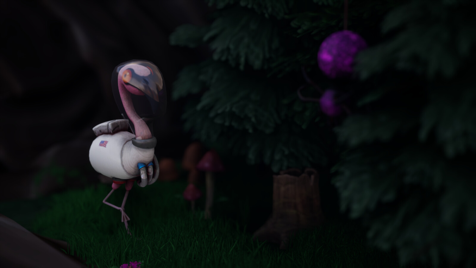 Buzz and Tony hang. In-game. Shrubs, grass and trees are from the UE4 marketplace