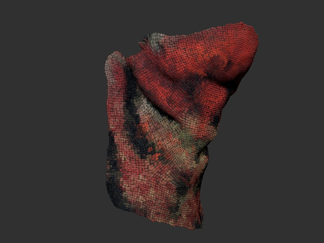 instanced scales using micromesh, they can be colored using polypaint on the basemesh.