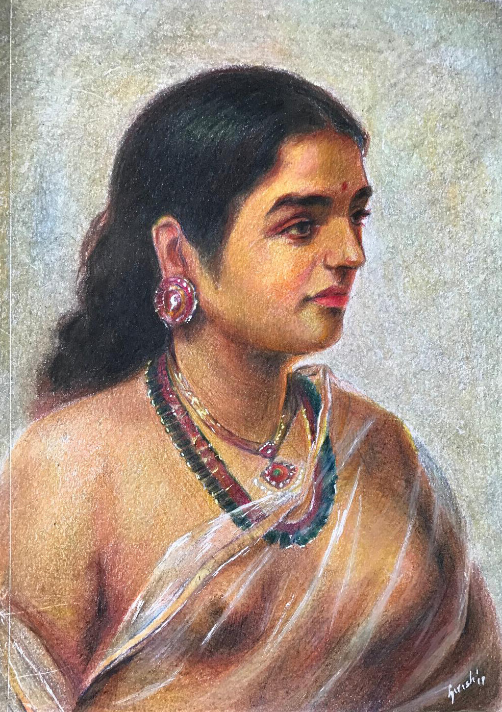 Ravi Varma Study - Colour Pencil on Paper