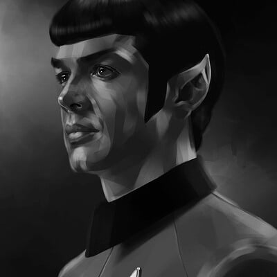 Lee bryan ethan peck as spock painting 2020 sml